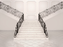 3d Illustration Of White Marble Staircase With Wrought Iron Bani