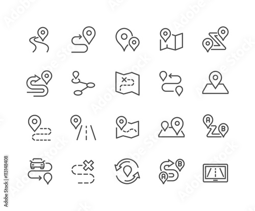 Line Route Icons Wall mural
