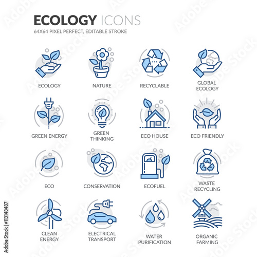 Line Ecology Icons Wall mural