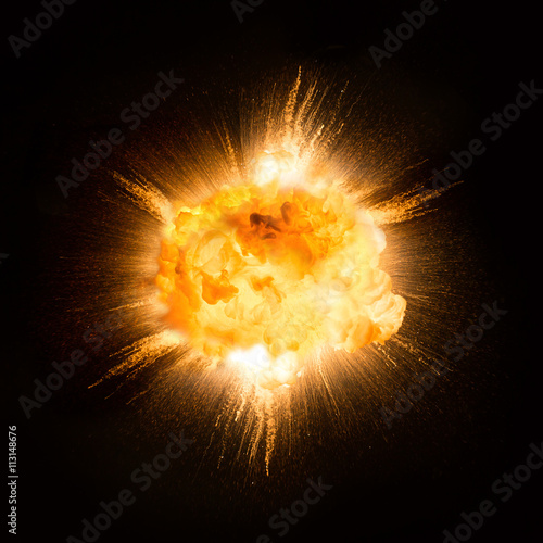 Fotografie, Obraz  Realistic fiery explosion over a black background