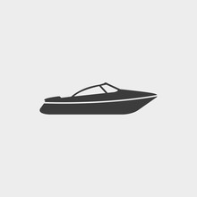 Motor Speed Boat Icon In A Fla...
