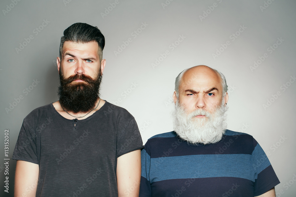 Fototapety, obrazy: Old and young bearded men