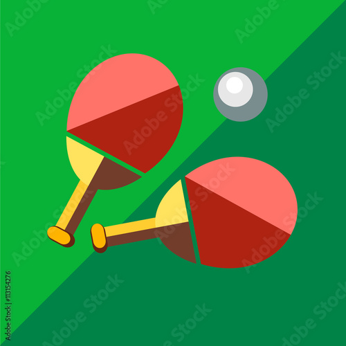Photo  Racket for table tennis on a bicolor background.