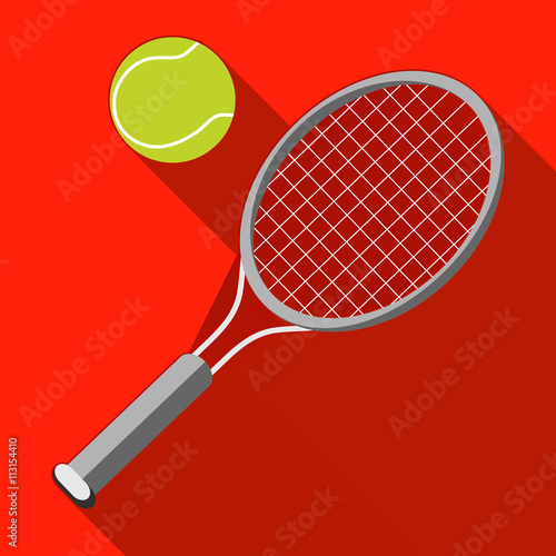 Photo  Tennis racket and ball with long shadow on red background