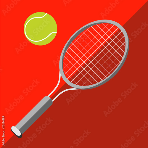 Tennis racket and ball on a two-tone background Canvas Print