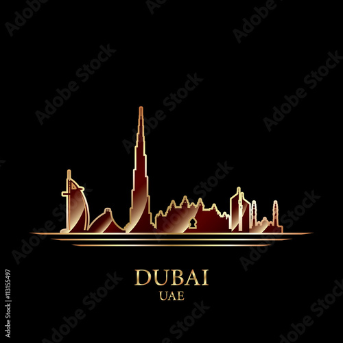 Photo  Gold silhouette of Dubai on black background
