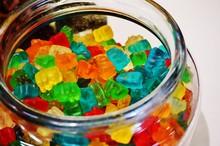 Jar Of Colorful Gummy Bear Candy