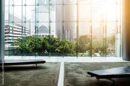 Fototapeta Glass wall in office building obraz na płótnie