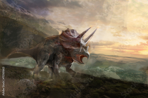 Photo  triceratops, the dinosaurs and sea behind