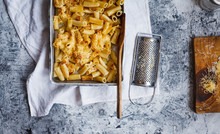 Serving Of Creamy Cardoon Mac And Cheese.
