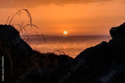 In de dag Oranje eclat The magnificent sunset at the seaside