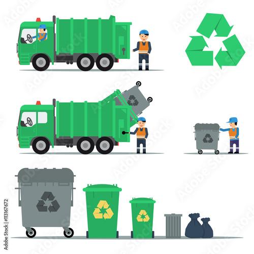 Fototapety, obrazy: Garbage recycling set