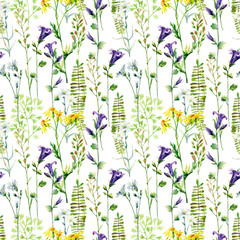 Fototapeta Watercolor meadow flowers seamless pattern