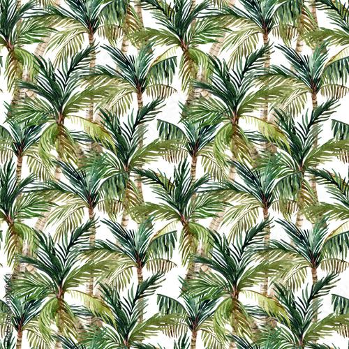 Watercolor palm tree seamless pattern Wall mural
