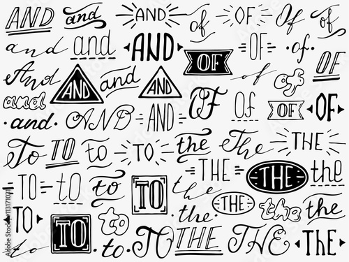 Hand lettered ampersand and catchwords. Wallpaper Mural