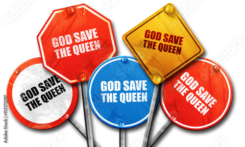 god save the queen, 3D rendering, street signs Canvas Print