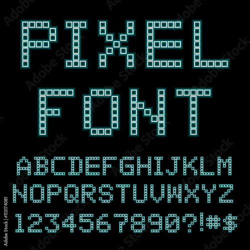 Retro computer font  Old PC alphabet  Vector - Buy this stock vector