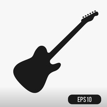 Guitar Icon Isolated On White ...
