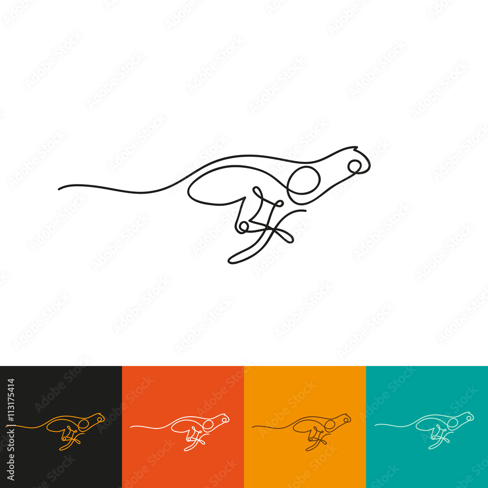 One line cheetah design silhouette. Hand drawn minimalism style vector illustration