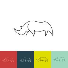 One Line Rhinoceros Design Sil...