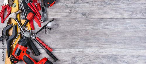 Fotografie, Obraz  Construction hand tools flat lay
