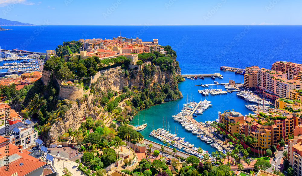Fototapety, obrazy: Prince Palace and old town of Monaco, France