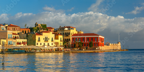 Wall Murals Bridges Picturesque panoramic view of old harbour, Firkas Fortress and Venetian quay of Chania in the morning, Crete, Greece
