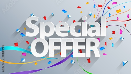 Photo Special offer text on white background