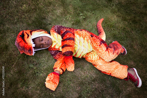 High angel view of boy wearing dinosaur costume sleeping in yard during Halloween