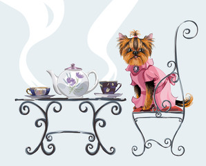 Plakat Yorkshire terrier. Two cup of tea. Invitation to tea drinking. Vector hand drawn illustration.