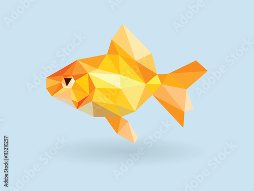 Photo Goldfish low polygon on blue background