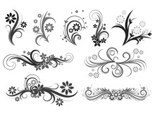 Curly Pattern Of Flowers And P...