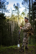 Bow Hunter Standing In Forest ...