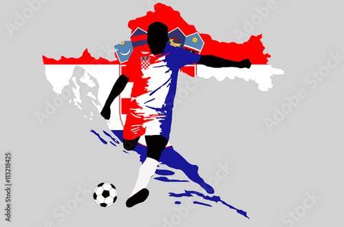 UEFA Euro 2016 vector illustration of football player run hit ball. Group D  participant Soccer team player in uniform with state national flag of  Croatia ... 931eb261a