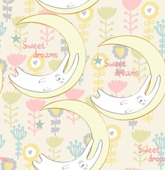 Fototapeta Cartoon Sleeping rabbit. Cute Hand Drawn illustration