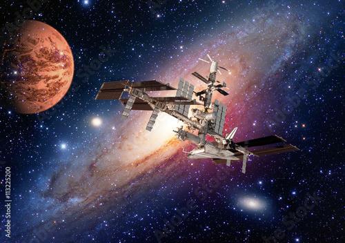 Space shuttle planet interstellar satellite international station Earth Mars Poster