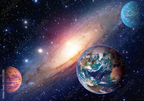 Fototapeta Space planet galaxy milky way Earth Mars universe astronomy solar system astrology. Elements of this image furnished by NASA. obraz