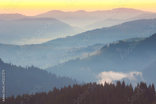 One minute before sunrise, Mountains Landscape - 113227275