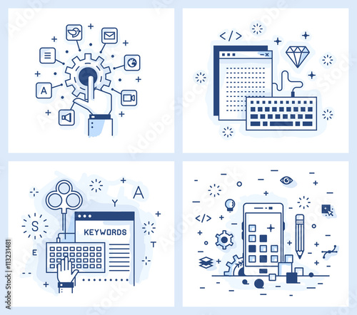 Fotografie, Obraz  Set of vector illustrations in modern linear style, tuning applications, programming and design applications, keyword selection, adaptive design