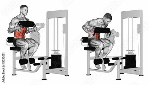 Fotografie, Obraz  Abdominal Crunch in AB machine