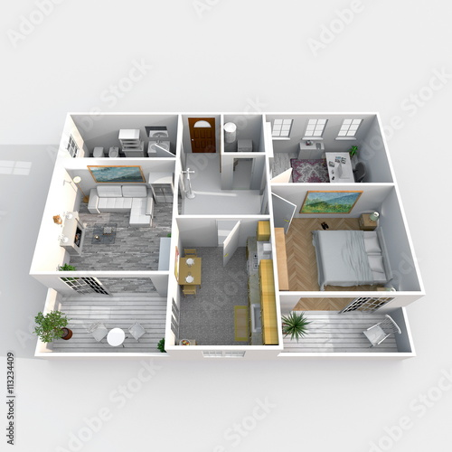 3d Interior Rendering Perspective View Of Rectangular Furnished Home Apartment Room Bathroom Bedroom