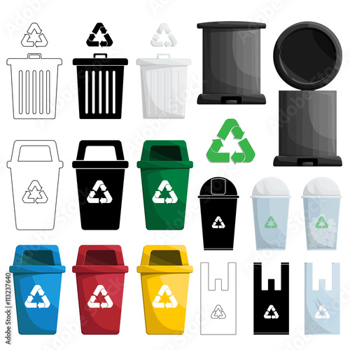 Color Recycle Bin Illustration