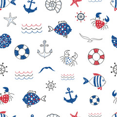 Naklejka Cute marine life doodle seamless pattern. Vector sea background with fish, crab, starfifh, anchor, seagull. Suitable for wallpaper, wrapping paper, web page background, summer cards design.