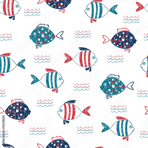 Cute doodle fish seamless pattern. Vector marine background in blue, red and white colors. Hand drawn fish and waves isolated on white.