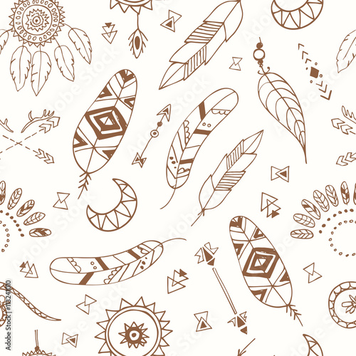 Fotografie, Obraz  Seamless pattern with Boho Chic Style Elements