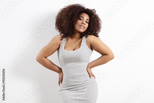 Fotografie, Tablou  pretty plus size woman wears a dress