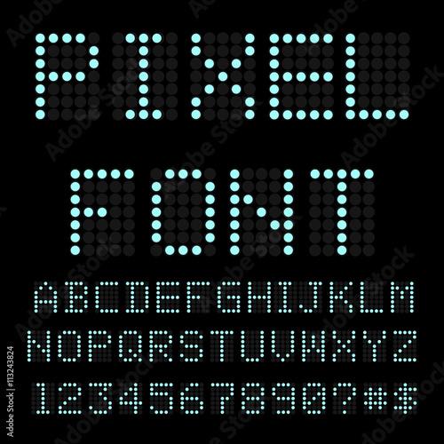 Retro computer font  Circle pixel alphabet  Vector - Buy