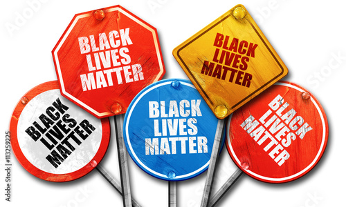 Obraz na plátne  black lives matter, 3D rendering, rough street sign collection