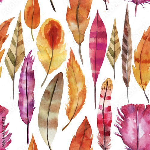 Cotton fabric pattern of fantastic watercolor feathers