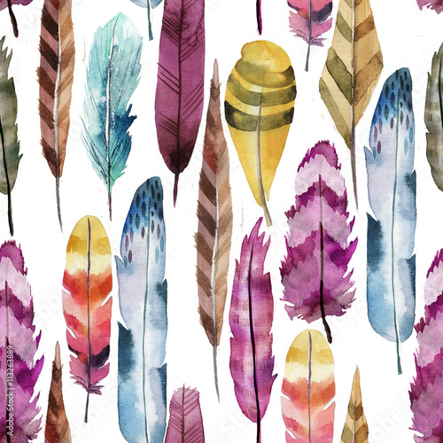 Cotton fabric seamless pattern of watercolor feathers